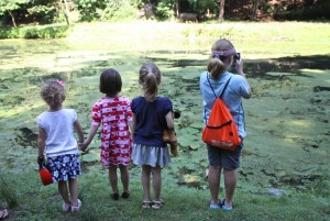 Girls on Pond Walk (photo by author)