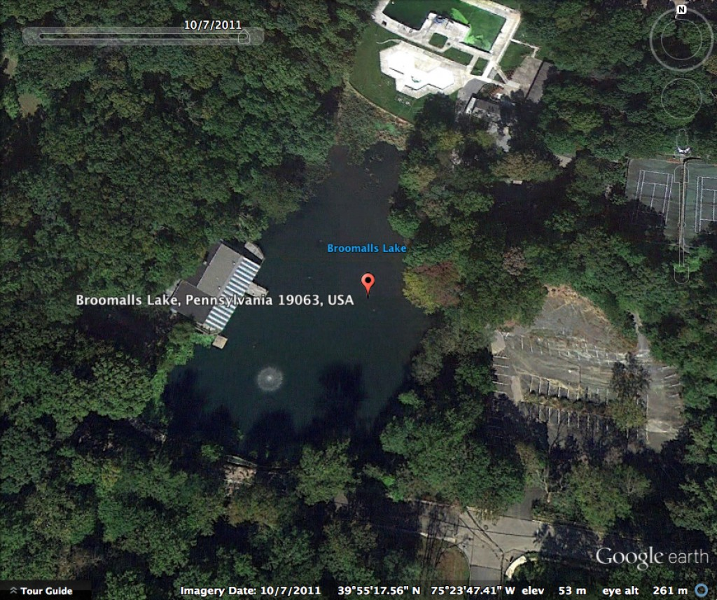 Broomall's Lake on Google Earth 10-7-2011