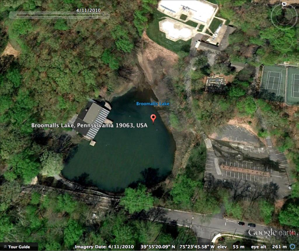 Broomall's Lake on Google Earth 4-11-2010
