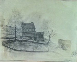 1861 drawing of Scroggie house - from Anna Broomall collection at Delaware County Historical Society